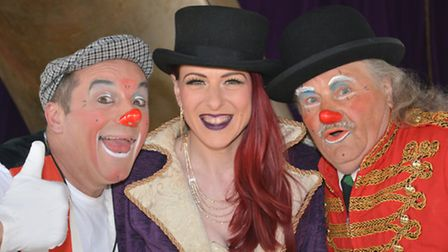 Mr Fips Wonder Circus, in Huntingdon, stars (l-r) Mr Fips, Lizzy Labelle, and Charlie Clown,