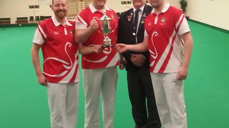 St Neots bowlers, left to right, Wayne Bailey, Barry Kitto and Jamie Barker with Cambridgeshire coun