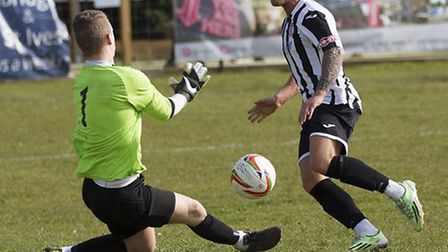 Declan Rogers hits his first goal for St lves Town. Picture: LOUISE THOMPSON