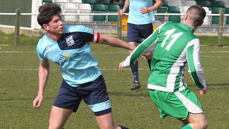 Taylor Parr in action for Godmanchester Rovers in their 3-1 win at Whitton. Picture: STEVE UNWIN