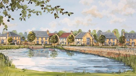 An artist's impression of how the first homes on the new Alconbury Weald development could look.