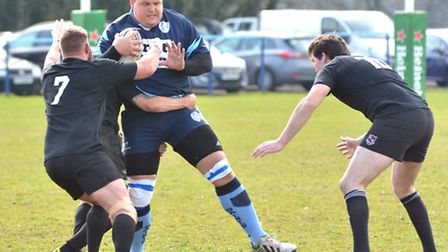 Action from St Neots' defeat at the hands of Daventry. Picture: HELEN DRAKE
