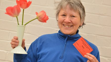 Buckden Show, Janet Lloyd, 1st prize with her tulips,