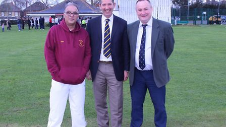 MP Jonathan Djanogly (centre) with cricket manager Freddie Khan (left) and chairrman David Swannell