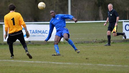 Colney Heath lob the Wembley keeper but see the ball cleared off the line. Picture: KEVIN LINES