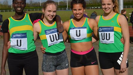 The winning Hunts AC 4-100m relay squad are, left to right, Diana Pereira, Aleta Fraylich, Jasmine H