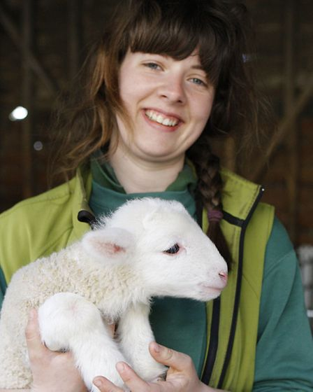Daisy Taylor with a White Faced Woodland Lamb