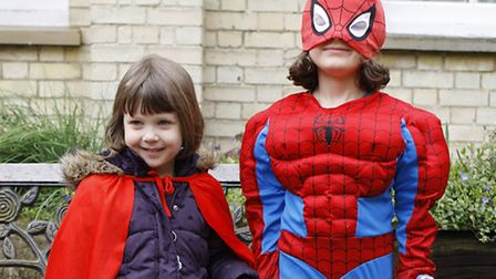 Evie Riches, age 3 as Spider Woman and Emily Wilkinson as Spider Man.