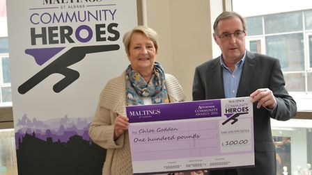 Community Heroes winner Anne Swallow (collecting on behalf of her granddaughter Chloe Godden) with M