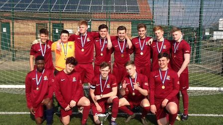 The successful St Neots Sixth Form team which won the Cambridgeshire Schools Cup.