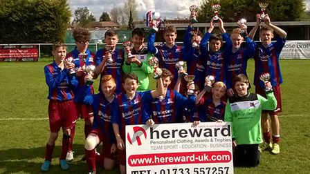 The Alconbury White Under 13 squad pictured celebrating their latest trophy success are Joseph Winte
