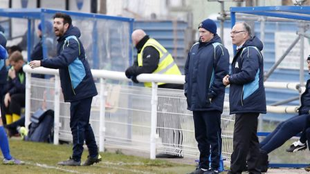 Lee Allinson, Harry Wheeler and Ian Allinson on the Saints bench. Picture: LEIGH PAGE