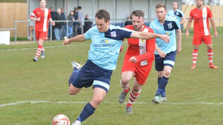 Goalscorer Micky Hyem on the ball for Godmanchester Rovers during their win against Newmarket. Pictu