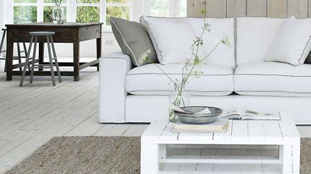 The French Connection Slate sofa, in white combination exclusively available at DFS (PA Photo/Handou