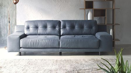 Hendricks dark grey luxury leather 3 seat sofa, £3300, Habitat (PA Photo/Handout)