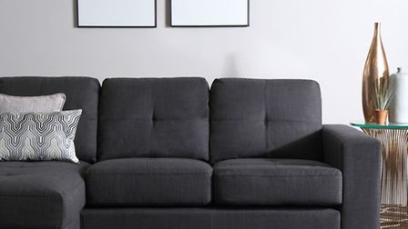 Rio fabric covered corner sofa, in slate, £449.99, available from Furniture Choice (PA Photo/Handout