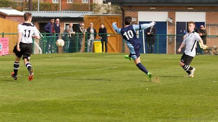 Drew Roberts scores in St Neots Town's 1-1 draw with Cambridge City. Picture: CLAIRE HOWES