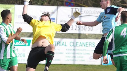 Action from Godmanchester Rovers' 3-1 win at Whitton. Picture: STEVE UNWIN