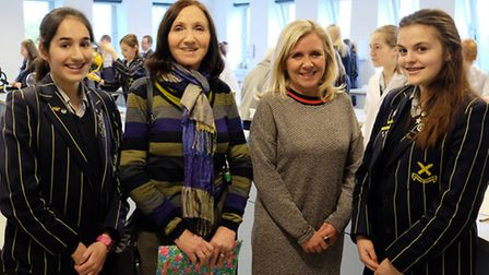 Stephen Hawking's ex-wife Jane and daughter Lucy Hawking with year 9 pupils (L-R) Ella-Louise Jain a
