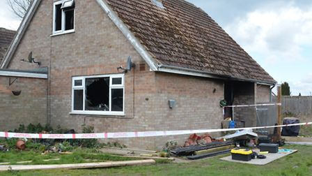 The scene of the fire, in Queens Road, Somersham.