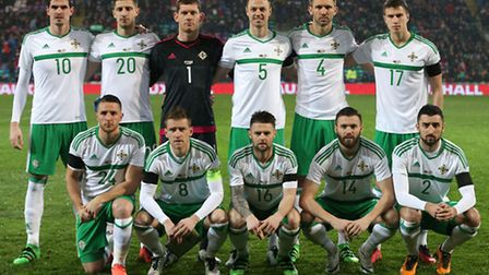 Conor Washington (front left) in the Northern Ireland team to face Wales last night.