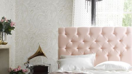 Foxtail Double Bedstead (with a choice of feet), upholstered in Harlequin Tembok Satin Blush, £1,280