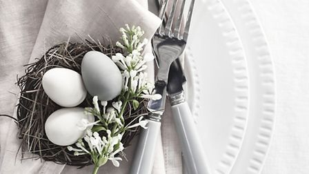 Croxton plate, Handsworth crockery, napkin, set of six eggs, 3; Orpington nest, from 4, all Neptune