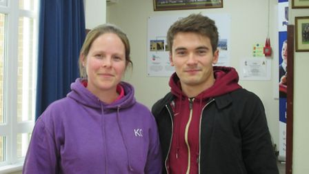 Melbourn Village College PE teacher Kelly Coghlan with Olympic diver Dan Goodfellow