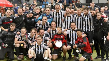 St Ives Town celebrate their Southern League Division One (Central) play-off final success. Picture: