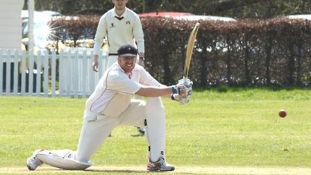 Captain Paul Swannell during his top-scoring knock for Godmanchester in their victory against Waresl