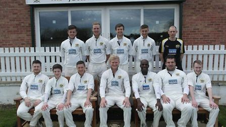 Eaton Socon, pictured before their clash against Blunham, are back row, left to right, Macaulay Clar