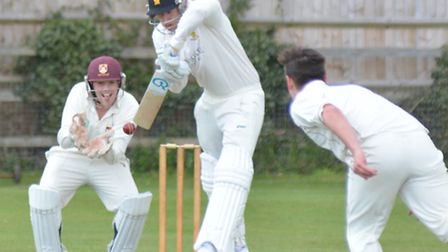 Ramsey batsman James Markland faces a delivery during their win at Waresley last Saturday. Picture: