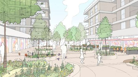 Angle Property has announced redevelopment proposals for St Albans Civic Centre. This sketch shows a