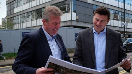 Angle Property director Anthony Williamson and associate director Anthony Peck with the plans for th