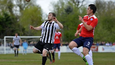 Ben Seymour-Shove in action during St Ives Town's play-off final triumph. Picture: DUNCAN LAMONT