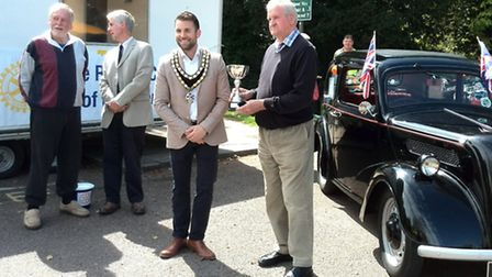 Richard Healey, winner of the mayor's award at the Classic Car Show, poses with the mayor of Royston