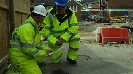 More surveys are being carried out near St Albans' sinkhole, Fontmell Close, April 2016. Pictured ar