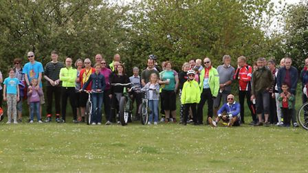 People who took part in the A10 Corridor Cycling Campaign's awareness ride, which for the first time