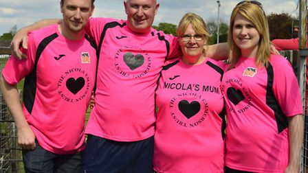 Nicola Emmerson's family - brother Daniel, dad Steven, mum Julie, and sister Charlotte - cheering on