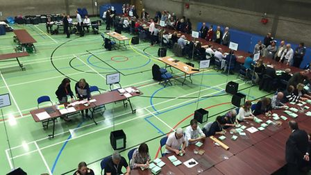 Counting taking place at the Burgess Hall, in St Ives.