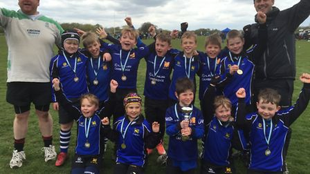 The St Ives Under 8 team who won their age group at the St Neots Festival of Rugby.