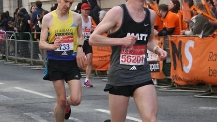 Nairn McWilliams completes the final mile of the 2016 London Marathon