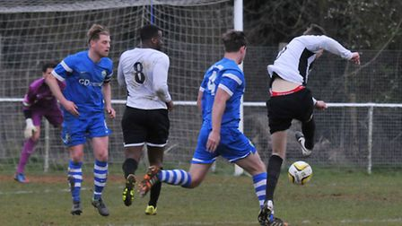 Charncey Dash scored three as Colney Heath avoided relegation. Picture: DANNY LOO