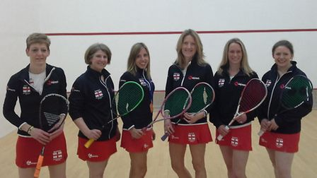 Kate Bradshaw (second from right) with the England women's over 35s