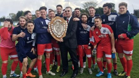 Godmanchester Rovers receive the Thurlow Nunn League Premier Division runners-up shield.