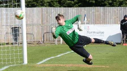 Eynesbury Rovers goalkeeper Kyle de Garis made several fine saves against Leicester Nirvana. Picture