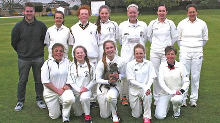 The Needingworth Ladies team are, back row, left to right, Lee Smith (manager), Izzy Hall, Amelia Ol