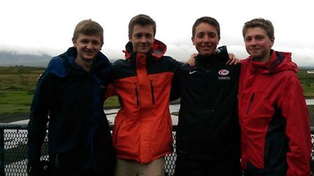 Close friends: (Left to right) Ed Mallen, Ollie Hastings, Seb Grant and Leo Charlesworth.