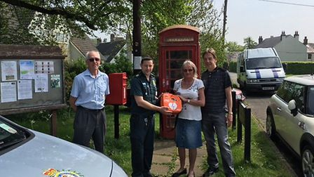 Members of Reed Parish Council with Simon Marshall, EEAST Community Partnership Training Officer for