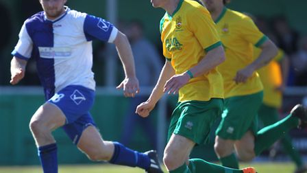 Ian Rees, seen in action for Hitchin Town, has joined St Albans City from Biggleswade Town. Picture: